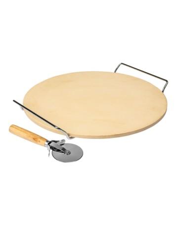 Kamień do pizzy i chleba z łopatką okrągły 33x33cm